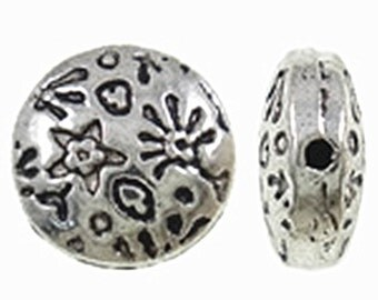 12pc 10x4.5mm antique silver finish flat round metal beads-9690