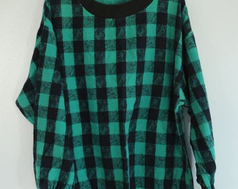 Vintage Green and Black Checker Girls Skirt and Shirt Set 100 percent cotton