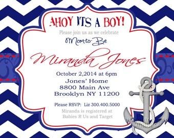 Ahoy its a Boy InvitationChevron Ahoy its a Boy Baby