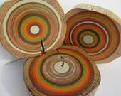 Set of 3 Autum Earth Art Tree Rings wall decor made from reclaimed wood (TRWD3AUTUM)