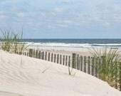 Beach Photography, coastal wall art Sand dune ocean photo with dune grass and beach fence 'Stone Harbor Dunes #3' beach art