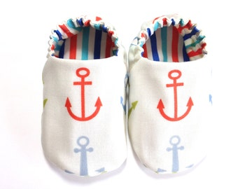 Nautical Baby Boy Shoes with Anchors, 0-6 mos. Baby Booties, Nautical Soft Sole Baby Shoes, Boy Crib Shoes with Anchors, Baby Boy Gift