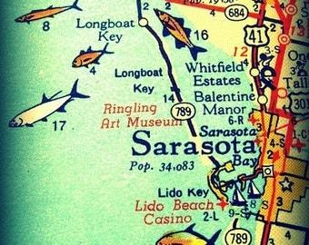Florida Art Map 8x10 Sarasota Map Print Siesta Key Florida turquoise photograph Florida Maps aqua fish wall art decor illustrated map gift