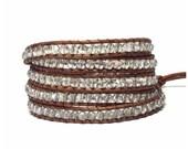 Swarovski Crystal Wrap Bracelet - Swarovski Crystal Faceted beads- Brown or Black Leather - Bohemian Chic
