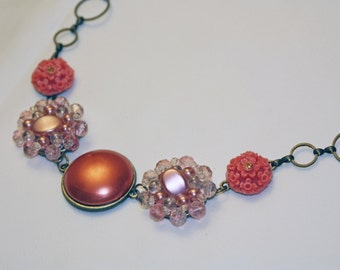 Beautiful Necklace made of Vintage Clip Earrings - Bronze Chain, Handmade , Repurposed Jewelry