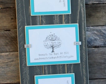 Picture Frame - Triple 5x7 - Distressed Wood - Holds 3 - 5x7 Photos - 2 Vertical and 1 Horizontal - Gray & Aqua