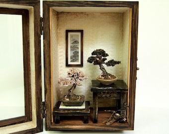 Bonsai Trees set, Vintage miniature Dollhouse 1/12 (BMS02)