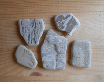 Sea pottery , Fantasy mix crude, beige,  beach pottery 5 pieces , jewelry, crafting, home and garden decor, art   lotto138
