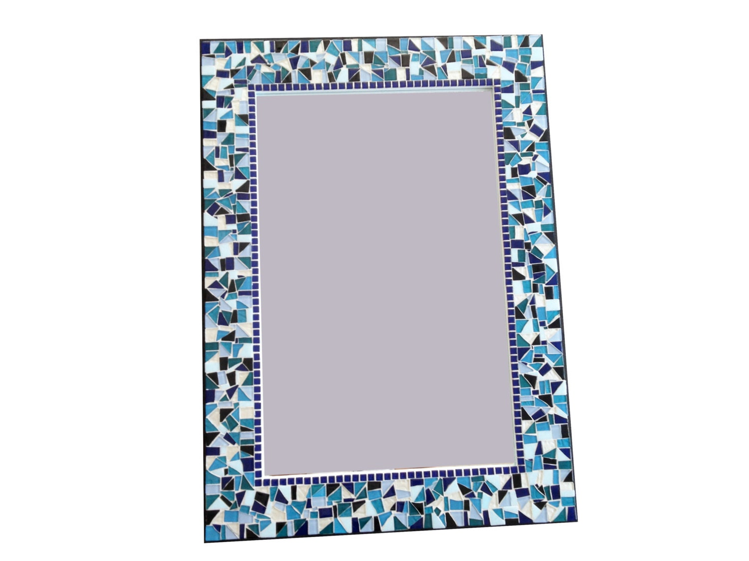 large mosaic wall mirror teal black white blue