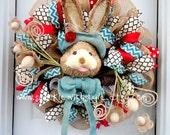 Burlap Easter Wreath - Burlap Wreath - Easter/Spring Door Decoration - Deco Mesh Wreath - Easter Mesh - Burlap Bunny Wreath