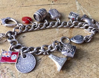 Antique Victorian Sterling Silver Chased Curb Link Charm Bracelet Etched Victorian Links Repousse Heart Red Enamel Flag Sterling Charms