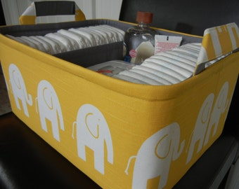 """Ex Large Diaper Caddy-14""""x 10""""x 7""""(CHOOSE Basket & Lining COLORS)Two Dividers-Baby Gift--Fabric Storage Organizer-""""White Ele on Yellow"""""""