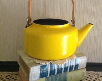 Vibrant Yellow Enamel Kettle - Farmhouse Teapot //- Garden Planter - Indoor/Outdoor