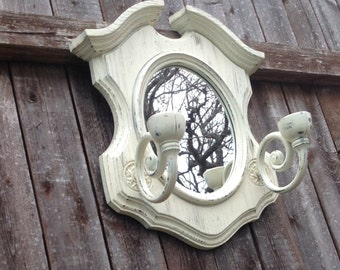Early American Oval Mirror w/Candle Sconces - Cottage White UpCycled Oval Mirror with Candle Holders - Made in the USA