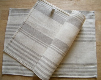 8 Pure Flax Linen Placemats - Natural table linens - gray and off white stripes - Kitchen Linens, Dining, Bar