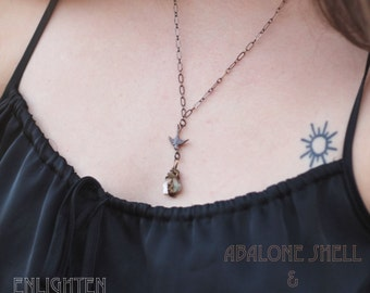 Abalone Shell & Sparrow Eco Friendly Necklace