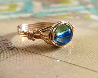 14kt Gold-filled Ring, Custom Size Ring, Unique Ring, Green and Blue
