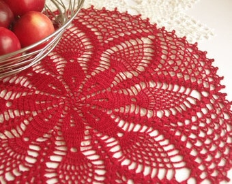Red pineapple crochet doily Large lace doily crochet Round crochet doilies Table decoration Crochet centerpiece Crochet Christmas decoration