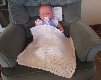 White Crocheted Baby Doll Blanket/Quilt and Pillow Set