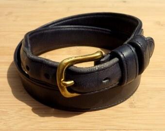 "Vintage COACH Black Leather Dress Belt 28"" / 70 cm. Made in New York City."