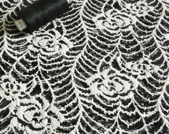 Soft Lace Dress Fabric Monochrome Black & White with Leaf Design - Cotton blend 150cm wide - sold by the metre - UK SELLER