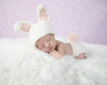 Newborn Baby Girl Bunny Hat - Newborn Baby Girl Bunny Hat and Diaper Cover - Girls Easter Hat