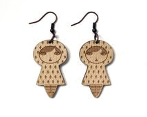 Lasercut wooden dolls earrings - matriochka - kokeshi - diamond pattern - minimalist - cute - contemporary