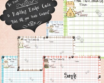 Digital Cute Kitty  Recipe Cards Set of 5 Cards ~