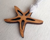 Wood Cutout Starfish Pendant Necklace with Custom Knit Cording, women's necklace, wood necklace, starfish necklace, oak pendant