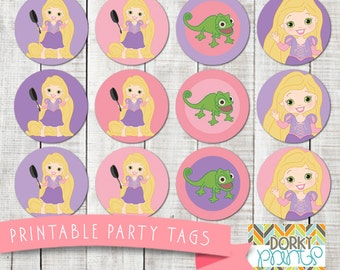 Rapunzel Birthday Party Printable Circle Tags PDF - Printable Party Supplies - Princess Party DIY