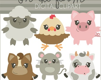 Farm Animals Clipart -Personal and Limited Commercial Use- pig, cow, horse, sheep, chicken, farm clip art