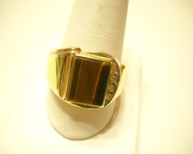 Vintage Man's Gold Plated Rhinestone & Tigers Eye Ring (5724) Size 12 1/2, 18kt HGE ESPO