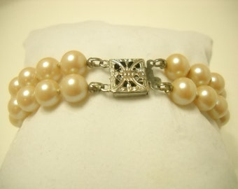 Vintage Double Strand Glass Pearl Bracelet (8862) 7mm