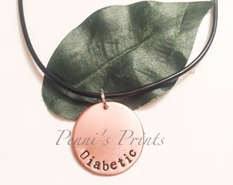 Hand stamped copper Diabetes necklace, diabetic, diabetes awareness