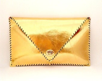 Gold leather clutch / Handmade leather bag / Envelope clutch / Envelope bag