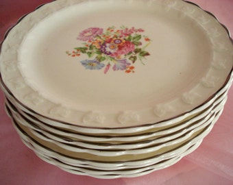 Vintage Shabby Plates Bread and Butter Dessert TST China Taylor Smith Taylor Set of 8 Floral Plates