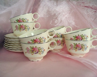 Vintage Wedding Teacups and Saucers TST China Taylor Smith Taylor Shabby Cottage Chic Floral Set of 8 Vintage Bridal Shower