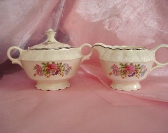Vintage Shabby Cream and Sugar TST China Taylor Smith Taylor Sugar and Creamer Cottage Chic