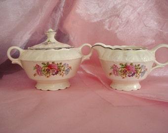 Vintage Cream and Sugar TST China Taylor Smith Taylor Sugar and Creamer Shabby Cottage Chic Vintage Tea Party