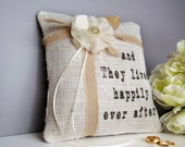 Burlap Ring Bearer Pillow, Ring Pillow, Rustic Wedding, Wedding Ring Cushion, Country, Happily Ever After, White/Off White Burlap