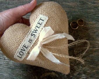 Heart Ring Bearer Pillow, Rustic Ring Pillow, Burlap Wedding Ring Holder, Ring Bearer Cushion, Burlap Rustic Chic, Farm Country Barn Wedding