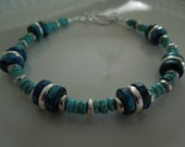 Turquoise, Mykonos Beads and Sterling Silver Bracelet