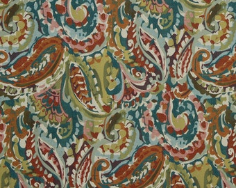 Teal Orange Upholstery Fabric by the Yard - Modern Abstract Green Pink Fabric for Furniture - Contemporary Teal Orange Pillows with Piping