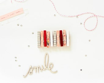 SALE! Mini Clothespins, Washi Clothespins, Valentine Clips, Red Silver Pink White Clothespins