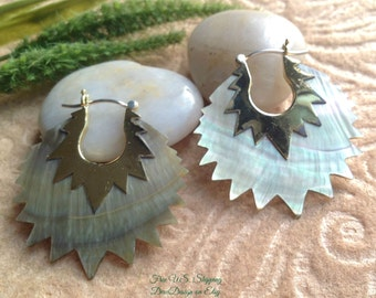 "Tribal Hanging Earrings, ""Sea Green Pearl"" Naturally Organic, Mother of Pearl, Brass/Sterling Posts, Hand Carved"