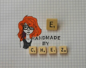 E Scrabble Tile Pin