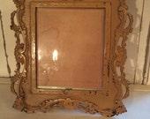 Antique cast iron frame with original bevelled glass