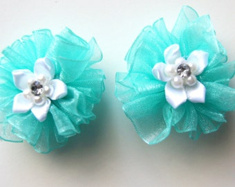 Aqua Blue and White Flower Dog Hair Bows