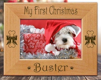 My First Christmas Dog Picture Frame