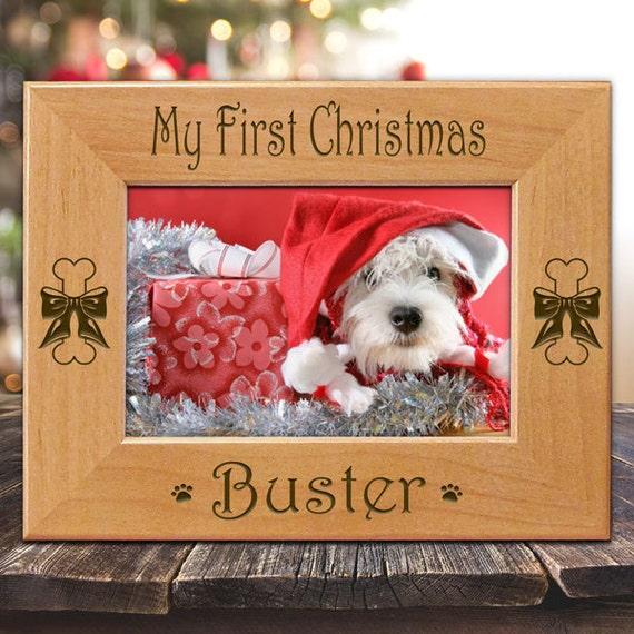 Dog's My First Christmas Personalized Picture Frame